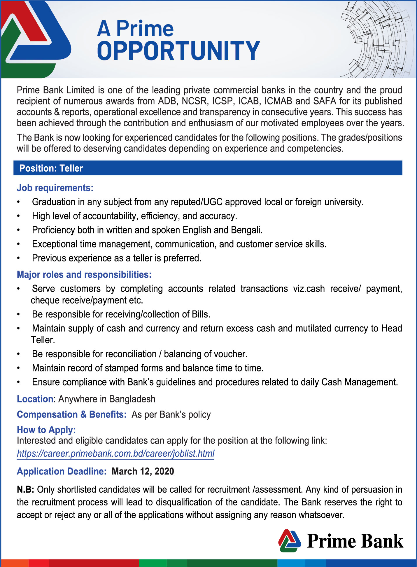Prime Bank Ltd Job Circular 2020